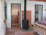 Wood Stove and Kitchenette